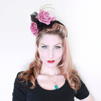 1940s Hat / VINTAGE / 40s Hat / Magenta / Roses / Tulle / GORGEOUS