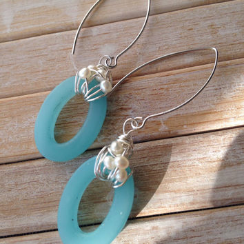 Blue Oval Seaglass Earrings with pearls wire wrapped on sterling wires  Long Dangles