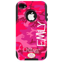 Personalize your Pink Camo Otterbox Commuter Phone Case - Pick your colors, font, and style