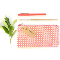 Handmade Pink and Orange Patterned Fabric Zippered Pouch // pencil case, teacher gift, back to school, pencil pouch, toiletry bag, coral