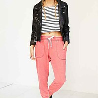 Margot Cozy Cropped Jogger Pant- Red