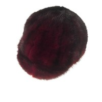 Burgundy Mink Fur Riding Hat
