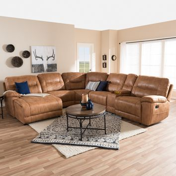 Baxton Studio Mistral Modern and Contemporary Light Brown Palomino Suede 6-Piece Sectional with Recliners Corner Lounge Suite  Set of 1