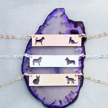 FREE SHIP • Custom Pet Jewelry Bar Necklace •Rose Gold Bar Necklace Two Pet Family Gift Dog Lover Gift Cat Lover Breed Custom Pet Silhouette