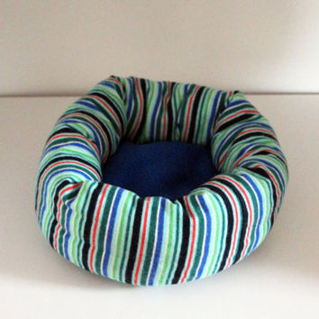 Sugar Glider Cuddle Roll, Rat Snuggle Cup, Hedgie Roll Bed - Stripes with Blue Fleece