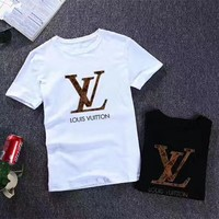 """Louis Vuitton"" Men Simple Casual Fashion Letter Print Short Sleeve T-shirt Top Tee"
