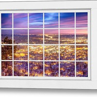 Downtown Boulder Colorado City Lights Sunrise Window View 8lg Metal Print