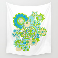Green bird Wall Tapestry by Julia Grifol Designs
