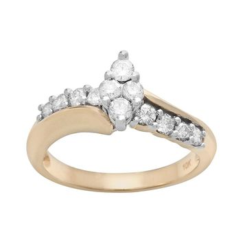 Cherish Always Round-Cut Diamond Marquise Cluster Engagement Ring in 10k Gold (5/8 ct. T.W.)