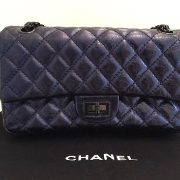 AUTHENTIC CHANEL Reissue Metallic Navy Accordion Flap Bag