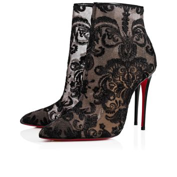Gipsybootie 100 Version Black Dentelle - Women Shoes - Christian Louboutin