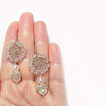 Sparkle Bridal earrings Pearl and Silver wire crochet earrings mad men fashion