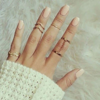 new 6pcs /lot Shiny Punk style Gold plated Stacking midi Finger Knuckle rings Charm Leaf Ring Set for women Jewelry