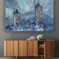 View: London bridge 110x160 cm Large impressionism acrylic painting on unstretched canvas art by artist Ksavera | Artfinder