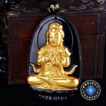 Gold+Natural Black Obsidian Eight Patron Saint Buddha Pendant Necklace