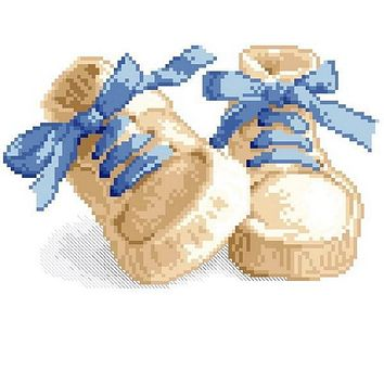 Top Quality DIY counted cross stitch kit baby shoes, birth certificate certification cross stitch