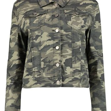 Camouflage Denim Jacket | Boohoo
