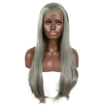 Long Gray Synthetic Front Lace Silver Wig