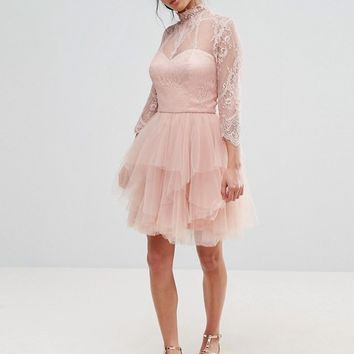 Chi Chi London Petite Allover Lace Mini Prom Dress With Ruffle Layered Skirt at asos.com