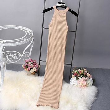 [Alphalmoda] New High Slit Sexy Rib Dress Women Glittering Halter Neck Bodycon Graceful Dress Vintage Knitted Dress in 5color