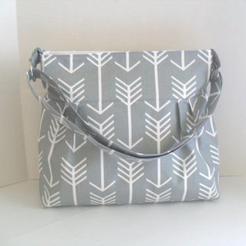 Arrow Diaper Bag in Gray - Diaper Bag - Gray Arrow - Messenger Bag - Nappy Bag - Crossbody - Arrow Diaper Bag - Cross Body - Laptop Bag