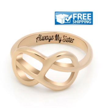 "Sister Gift - Delicate Infinity Ring Engraved on Inside with ""Always My Sister"", Sizes 6 to 9"