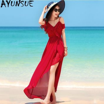 Summer Bohemian Beach Dress for Women Maxi Red Dress Women Spanish Style V-neck Sling Sexy Dress