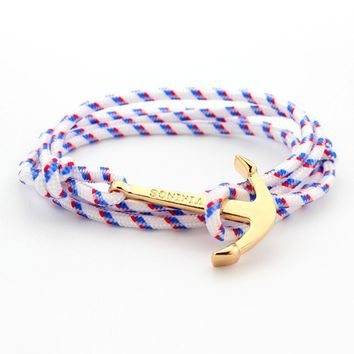 Rope Anchor Wristband Bracelet Handmade Multilayer Women Leather Men Bangle A