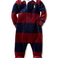 Ralph Lauren Childrenswear Baby Boys Velour Striped Coveralls