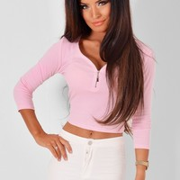 Xevera Pink Stretch Cropped Top | Pink Boutique