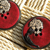 Set of 2 One-of-a-kind Ottoman Style Carnations Handmade Buttons...