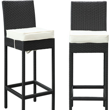 Modway Outdoor Lift Bar Stool Outdoor Patio Set of 2 in Espresso White