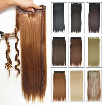 "5Clips Synthetic Clip in Hair Extensions for Braids Straight 24"" 60cm 120g More Color Women Hairpiece synthetic Hair extension"