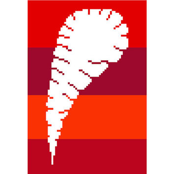 Peacock feather in negative silhouette. Modern cross stitch pattern