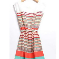 Multi-Colored Striped Mini Dress with Belt