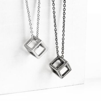DoreenBeads Fashion Pendant Necklace Titanium Steel Antique Silver Steel Color 3D Geometric Cube Pendant Punk Series,1 Piece