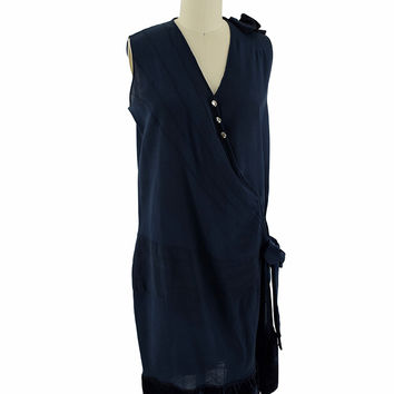 1920s Navy Blue Drop Waist Wrap Dress