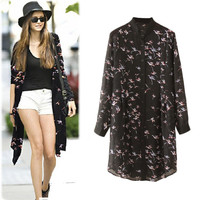 Black Bird Print Long Sleeve Button-up Top