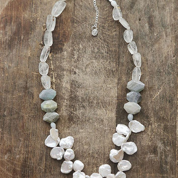 Labradorite Pearl and Aquamarine Statement Necklace, Chunky Natural Stone Necklace, Elegant Grey-Blue Semiprecious Stone Necklace