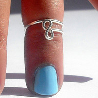 Infinity Knot Above Knuckle RingInfinity  knot  Ring   - Silver Infinity Wire Wrapped Ring  by Tiny Box -