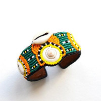 Embroidered Seashell Colorful cuff bracelet Beadwork African inspired Bracelet Handcrafted Bead Embroidery boho cuff Summer Vacation Jewelry