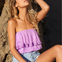 'The Tatum' Boho Off-Shoulder Cropped Lace Top