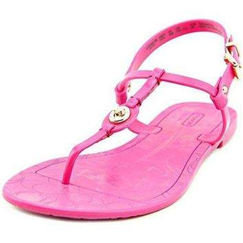 DCCKG2C Coach Pier Shiny Jelly Women US 8 Pink Open Toe Thong Sandal