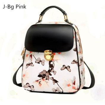 Woman backpack hot fashion cause floral backpack PU leather backpack young girl Mochilas index Mujer meteor hammer