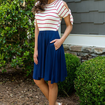 Nautical Notes Dress, Red-Navy