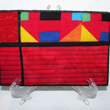 Red Modern Art Quilted Postcard