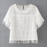 White Tiered Short Sleeve Chiffon Blouse