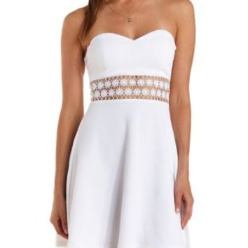 Daisy Crochet Strapless Skater Dress by Charlotte Russe