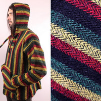 Vintage 90s - Woven Black Red Yellow Green Stripe - Rasta Beach Bum Surfer - Hooded Pulloever Drug Rug Hoodie Sweater