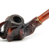 "Authors Tobacco Smoking pipe ""Eagle's Claw"" Carved of Pear Wood, Estate plus Pouch"